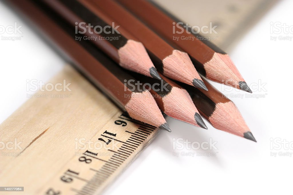 Sharp pencils and wooden ruler royalty-free stock photo