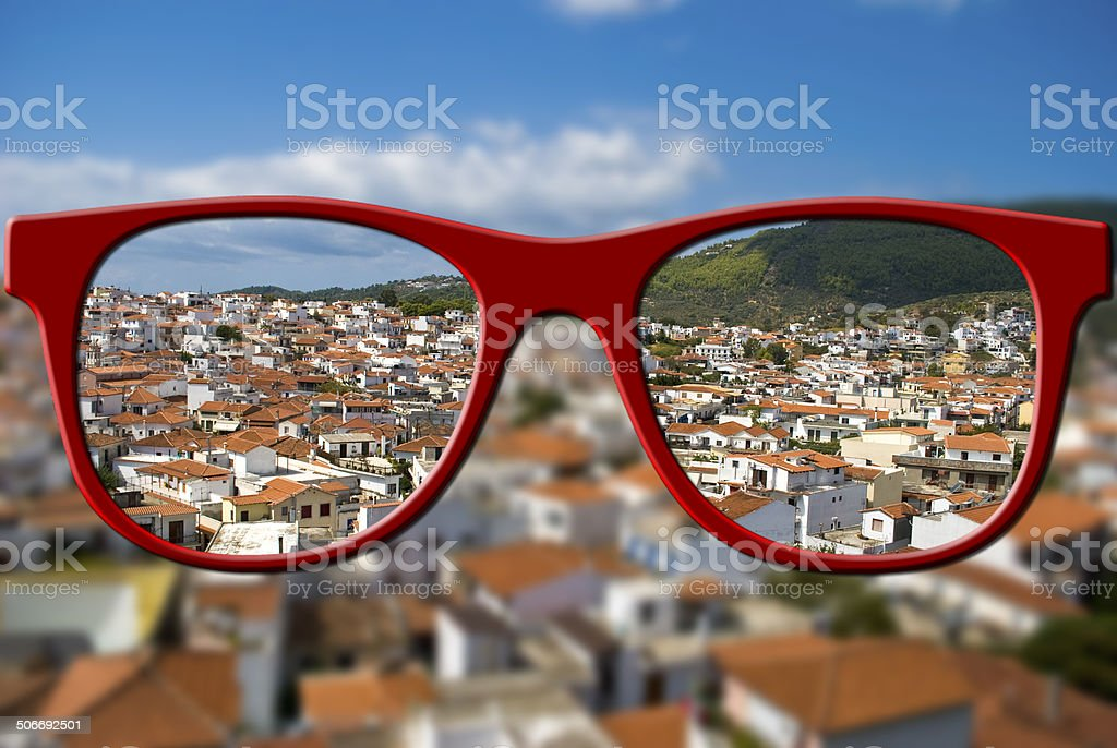 Sharp sight concept. Blurred and sharpen eyesight. stock photo