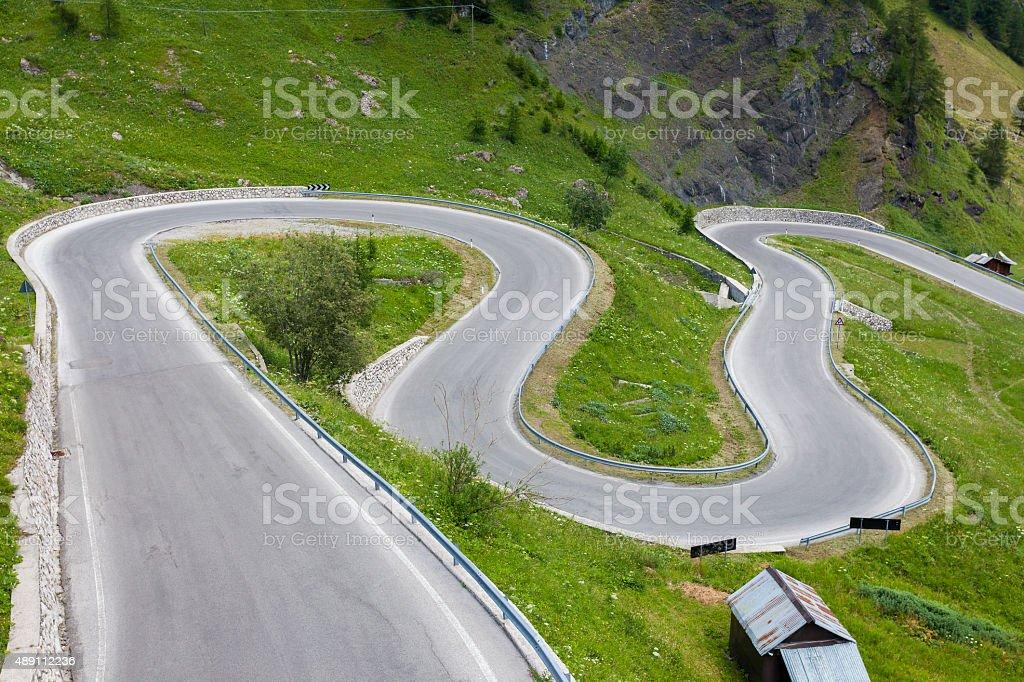 Sharp turns on a mountain road stock photo