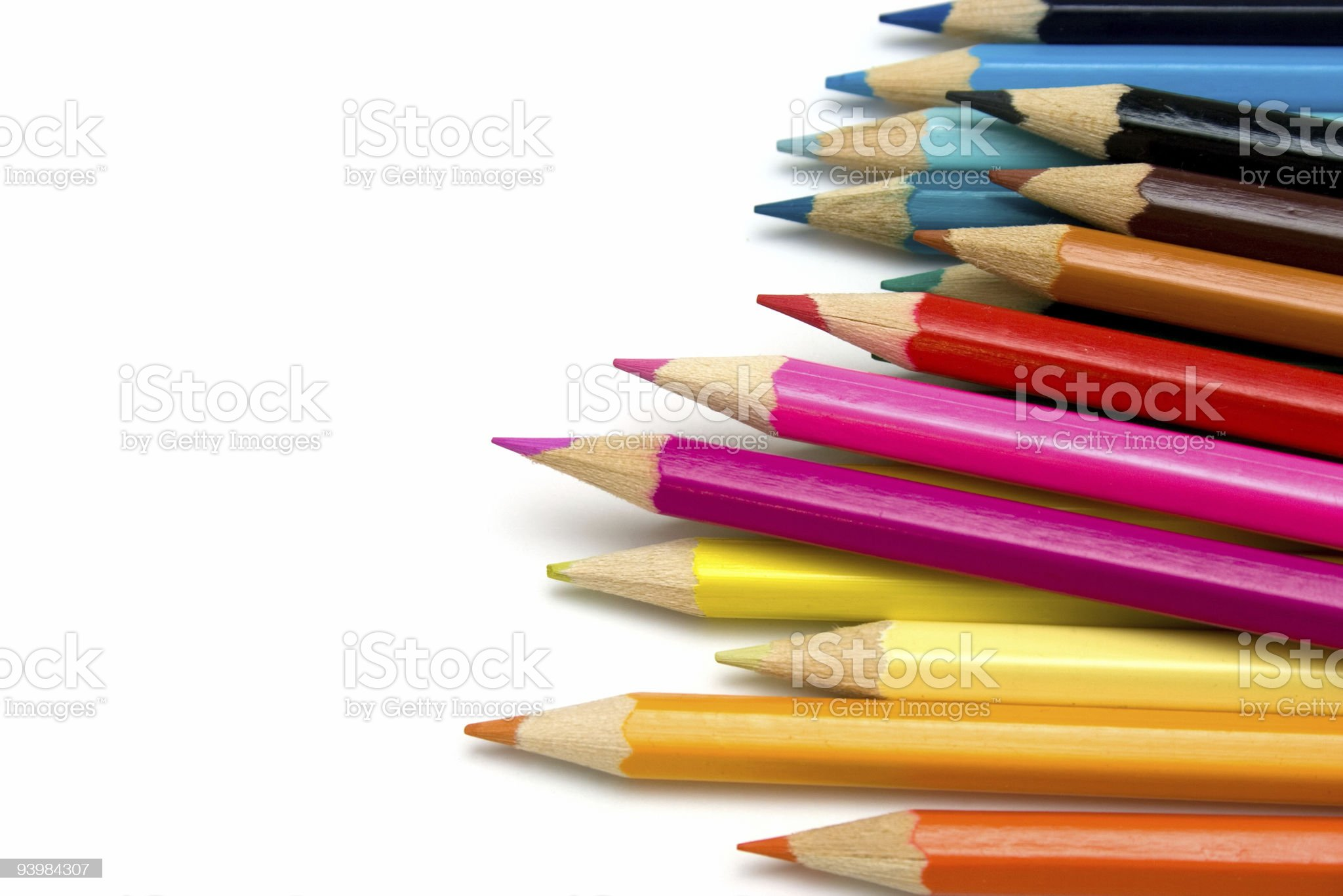 Sharpened colored pencils in pile royalty-free stock photo