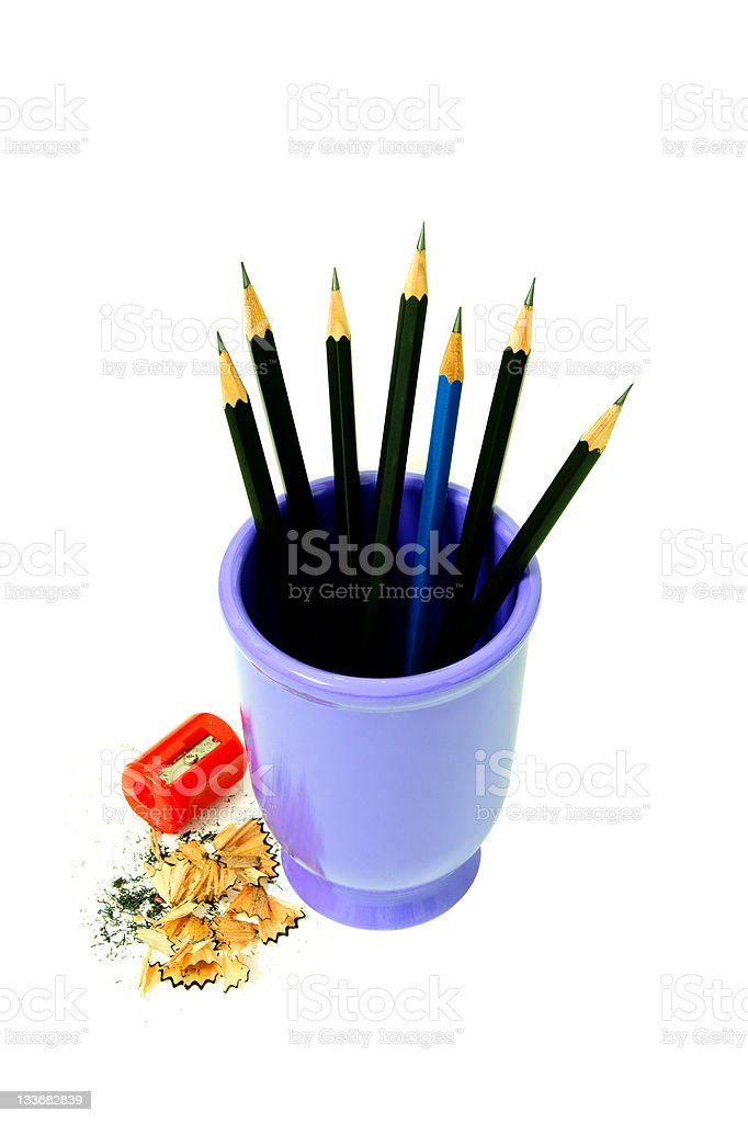 Sharpened Pencils And Red Sharpener royalty-free stock photo