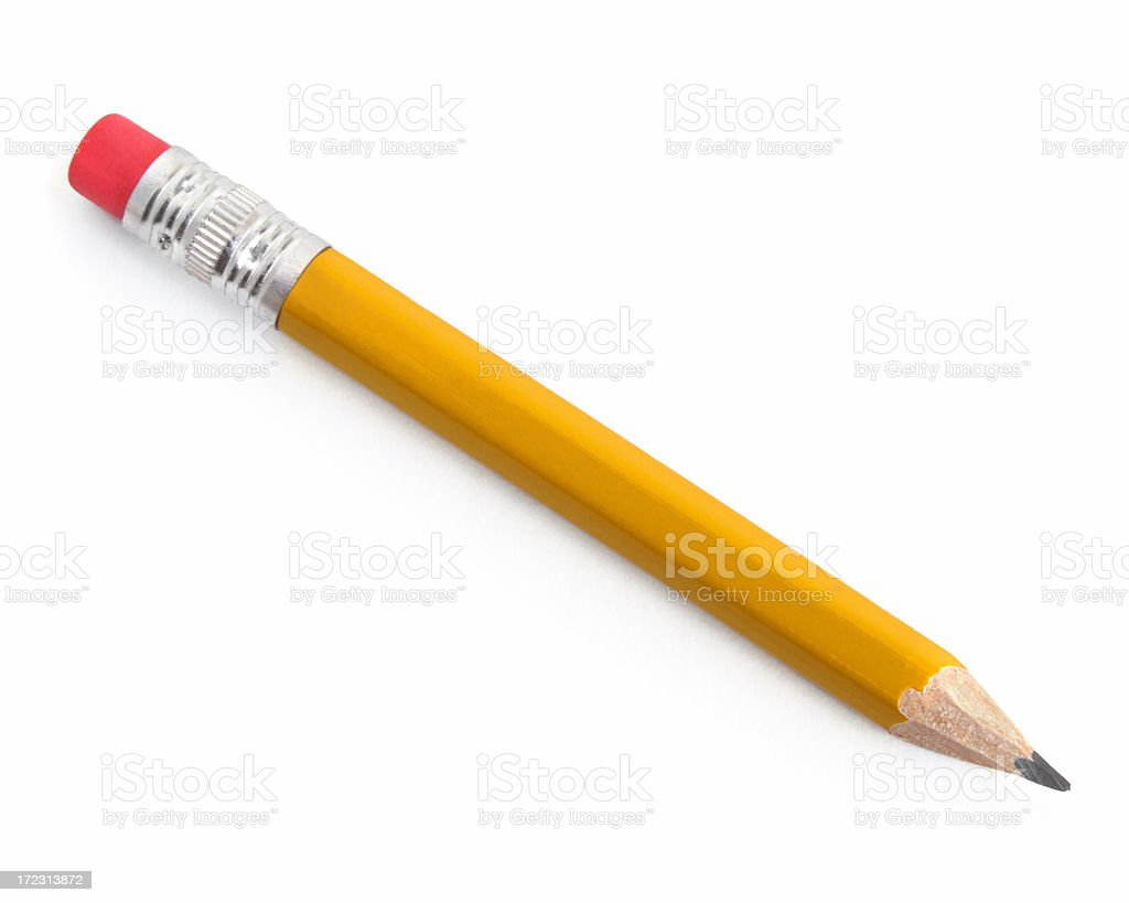 Sharpened yellow pencil with pink eraser on white background stock photo
