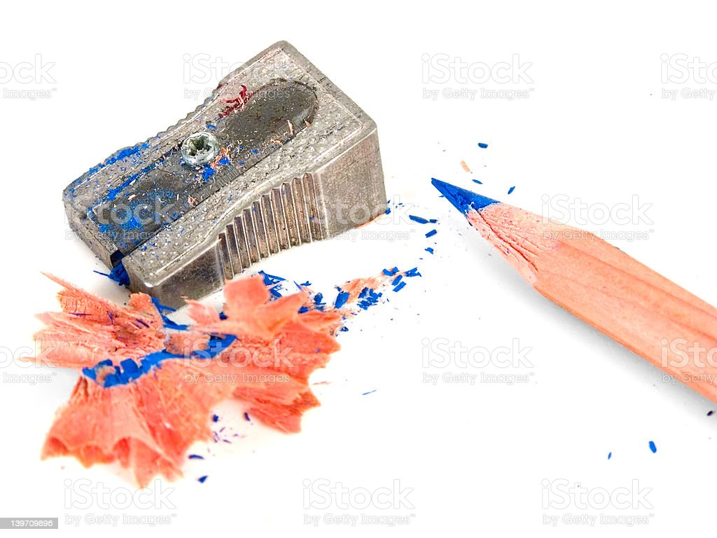 Sharpener and a pencil royalty-free stock photo
