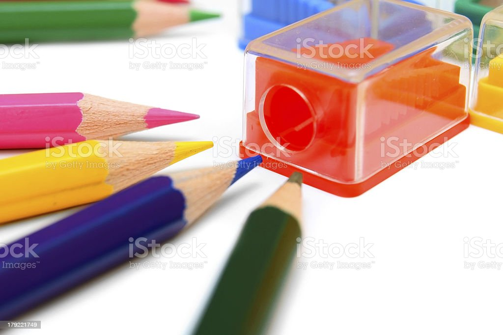 Sharpener and pencils . royalty-free stock photo