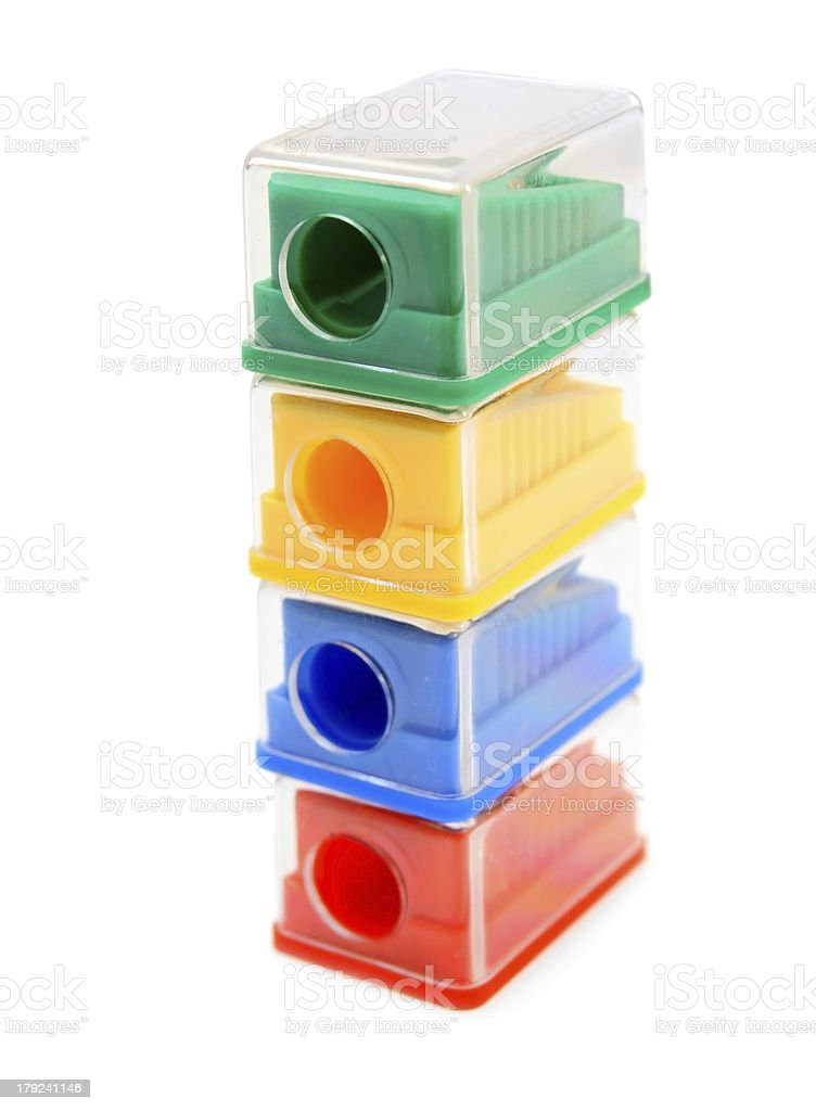 Sharpeners colour. On a white background. royalty-free stock photo