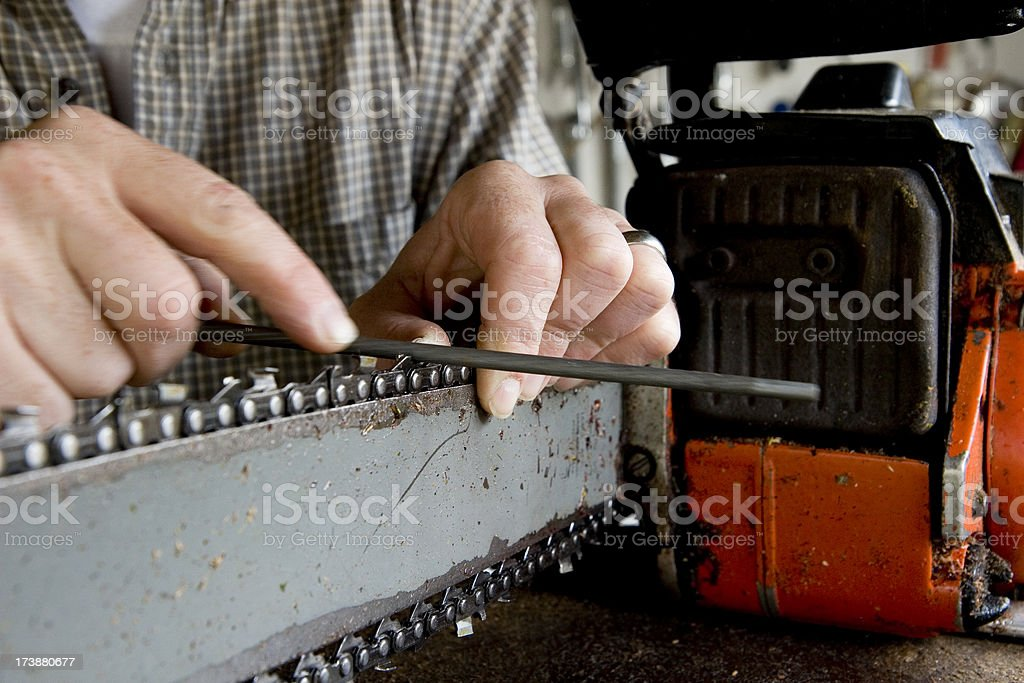 Sharpening a Chainsaw stock photo
