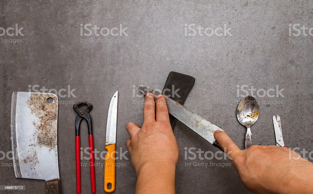 sharpening the knife. stock photo