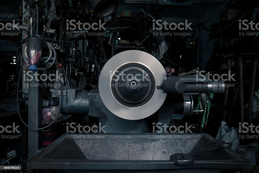 Sharpening Wheel in Old Factory stock photo