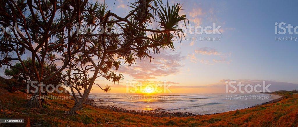 Sharpes Beach Sunrise Panorama stock photo