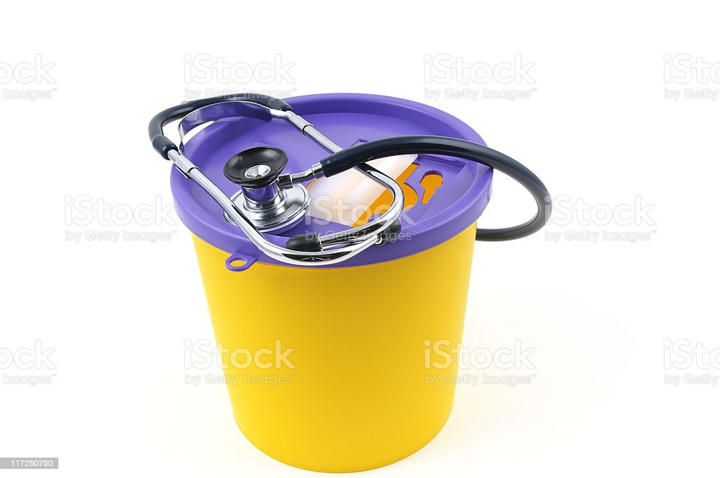 Sharps Bin and Stethescope royalty-free stock photo