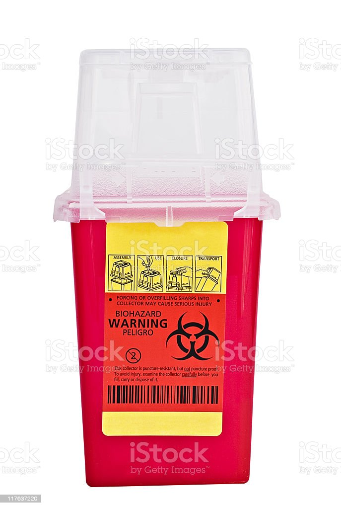 Sharps collector container stock photo