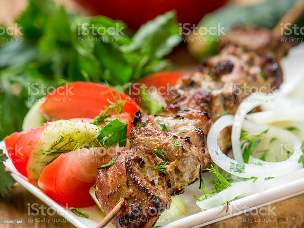 Shashlik - grilled meat and vegetables royalty-free stock photo