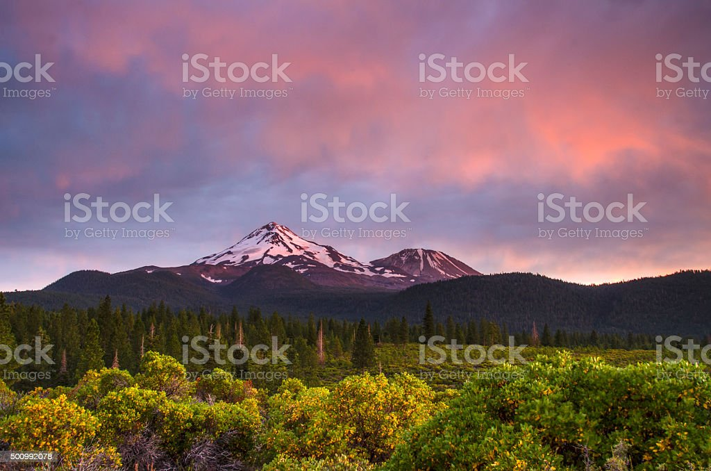 Shasta summer twilight stock photo