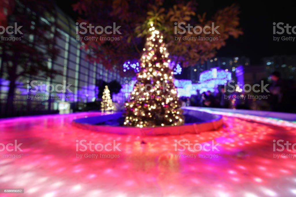 Shatin town plaza market square lights up stock photo