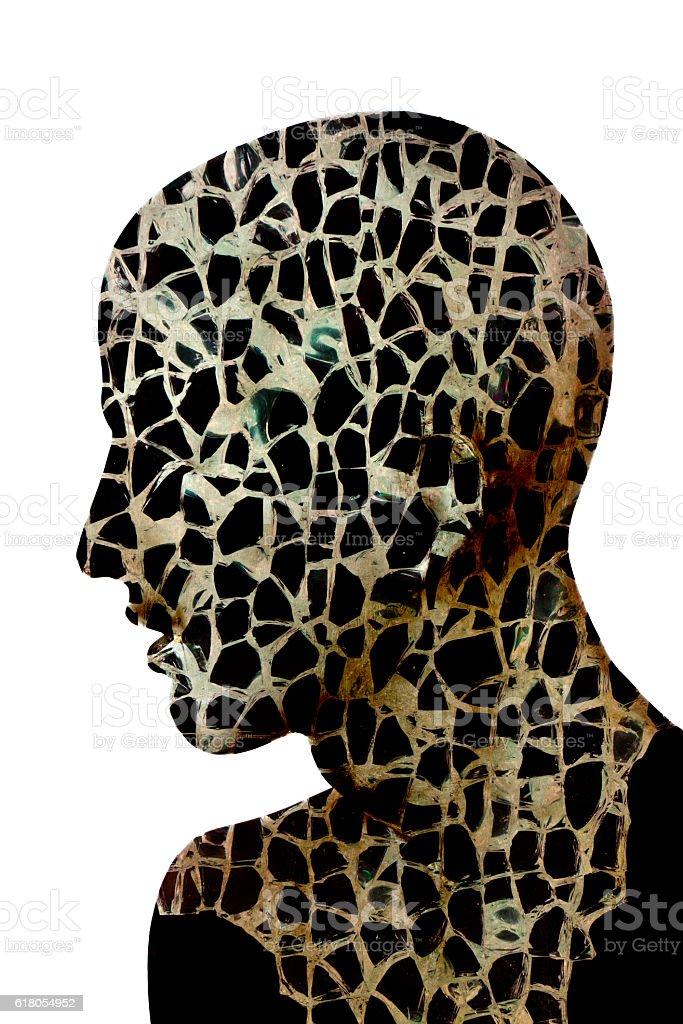 Shattered Glass Men stock photo