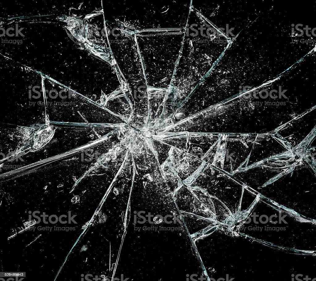 Shattered glass stock photo