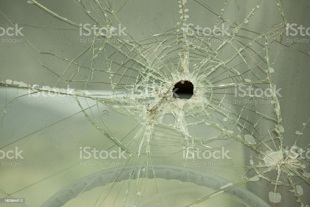 Shattered Glass, Truck or Automobile Windshield, Close-up, Hole royalty-free stock photo