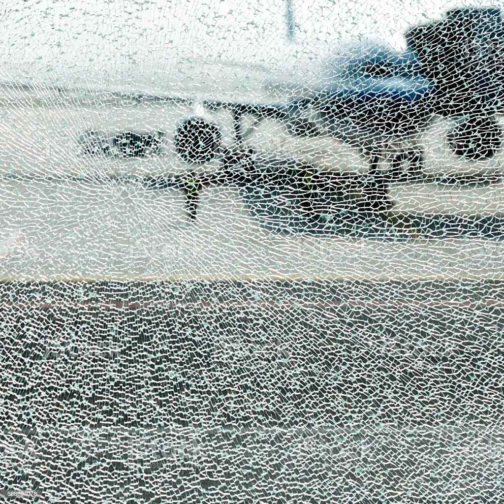 Shattered glass window stock photo