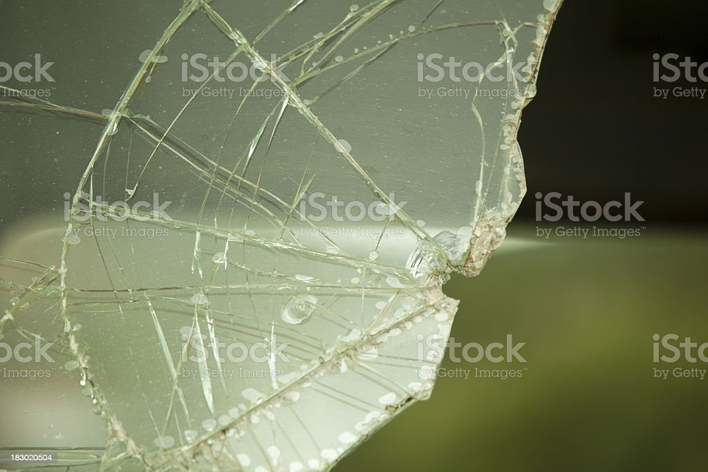 Shattered Green Glass, Grunge Background, Cracked stock photo