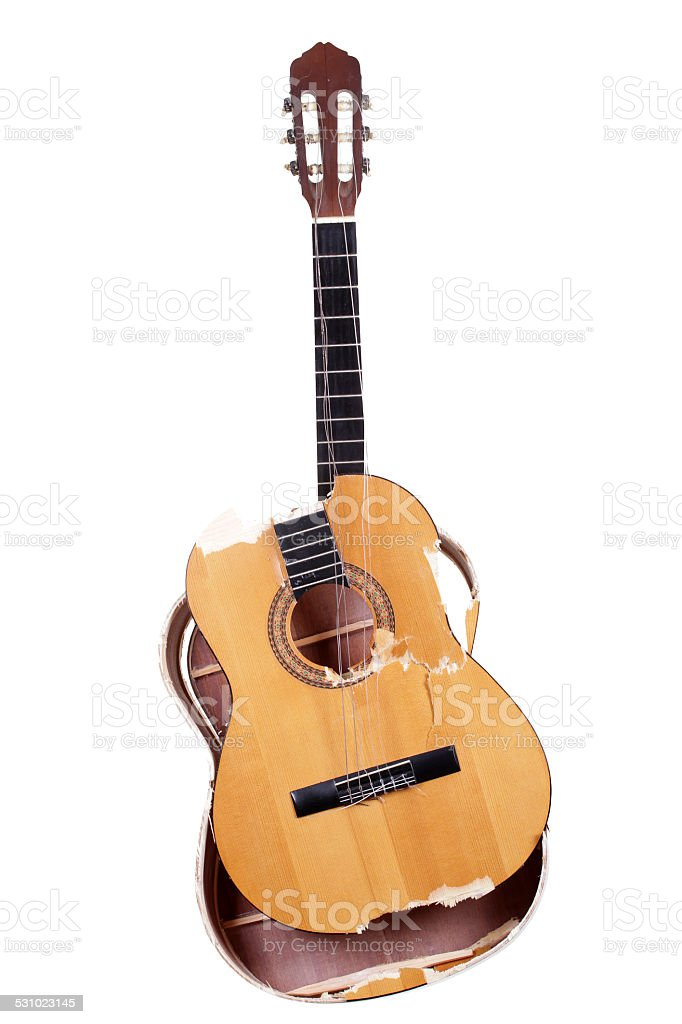 shattered guitar stock photo