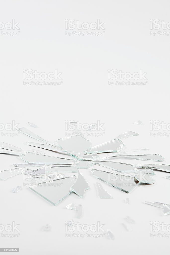 A shattered mirror stock photo