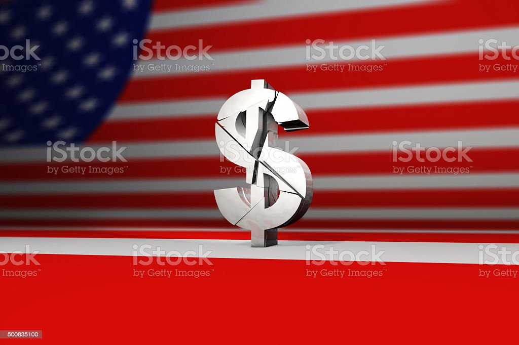 Shattered or broken us dollar sign stock photo
