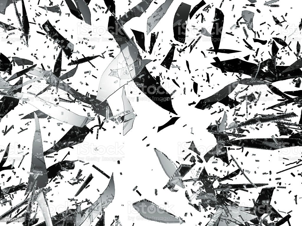 Shattered or Splitted glass Pieces isolated stock photo