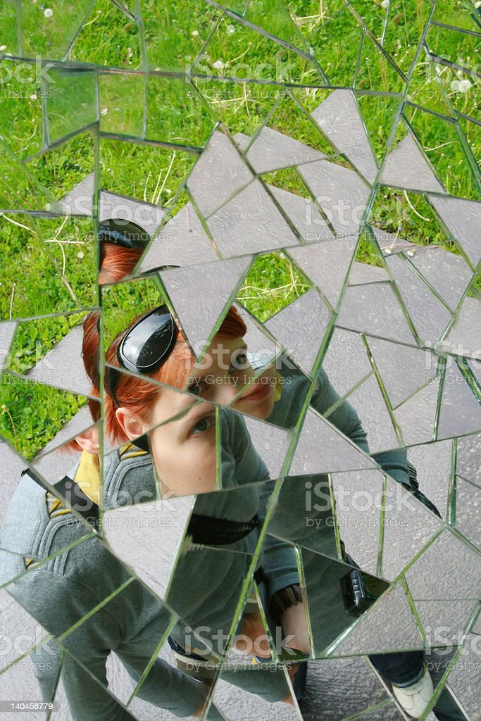 Shattered reflection stock photo