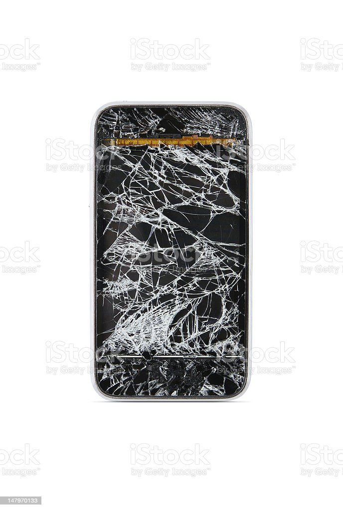 Shattered smart phone display screen royalty-free stock photo