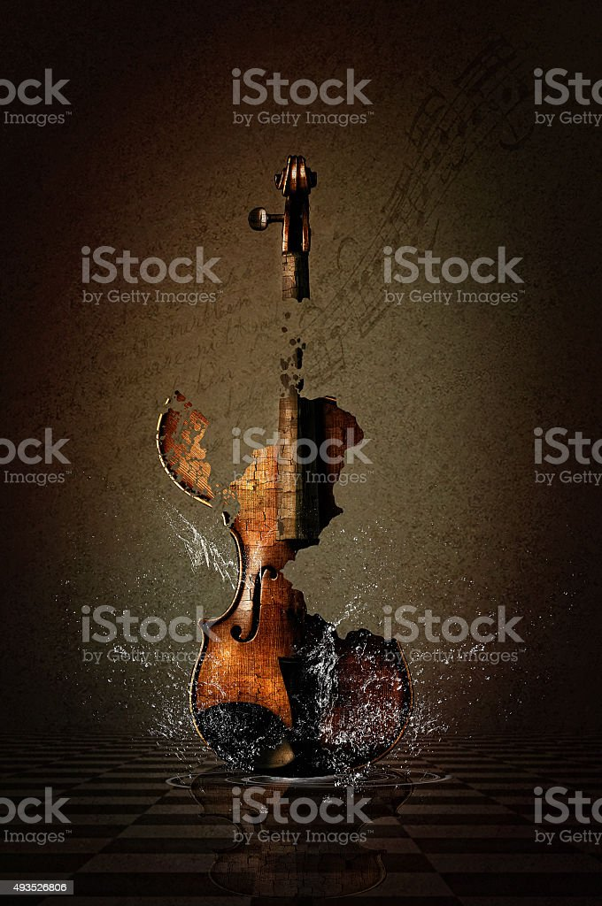 Shattered Violin with Water stock photo