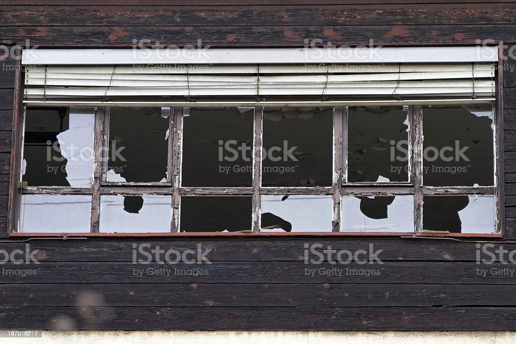 shattered window glass royalty-free stock photo
