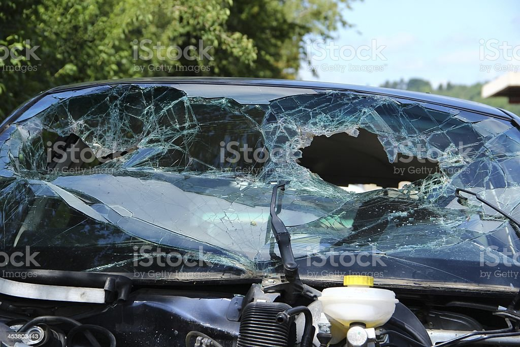 Shattered windscreen royalty-free stock photo