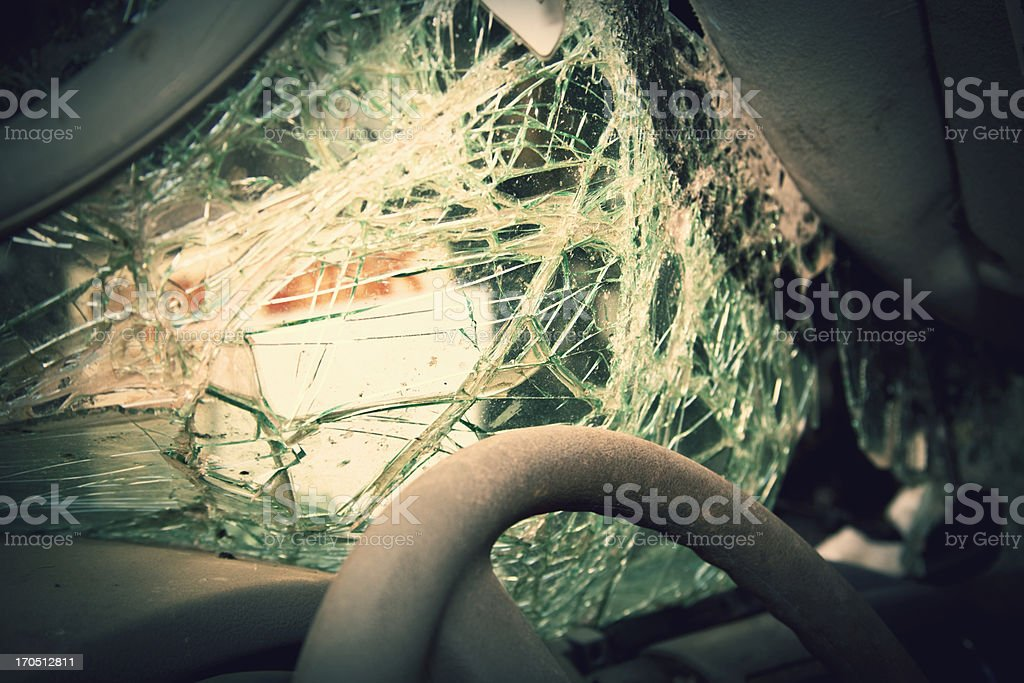 Shattered windshield after car crash. Vehicle accident. Broken glass. stock photo