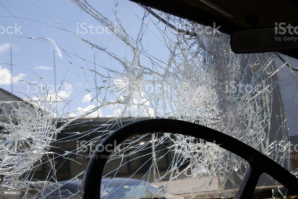 shattered windshield glass royalty-free stock photo