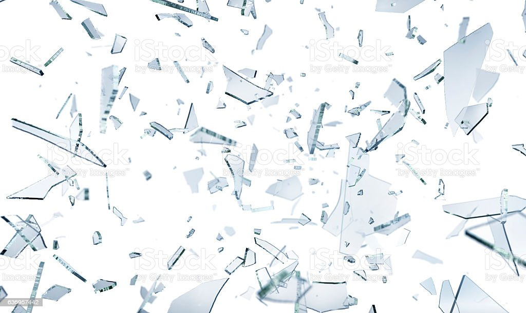 Shattering glass pieces on white stock photo