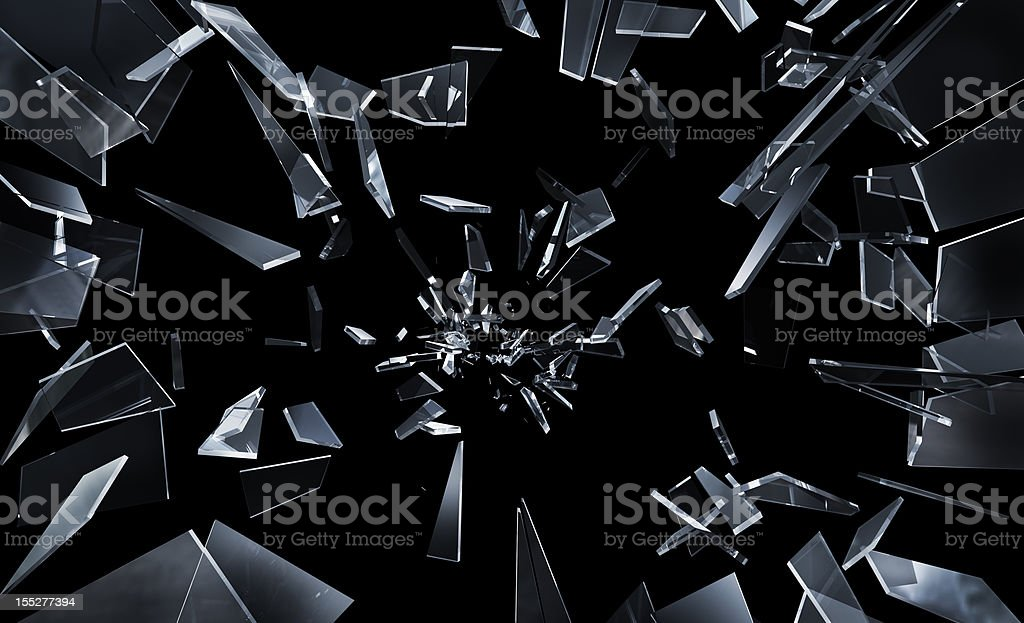 Shattering window glass stock photo
