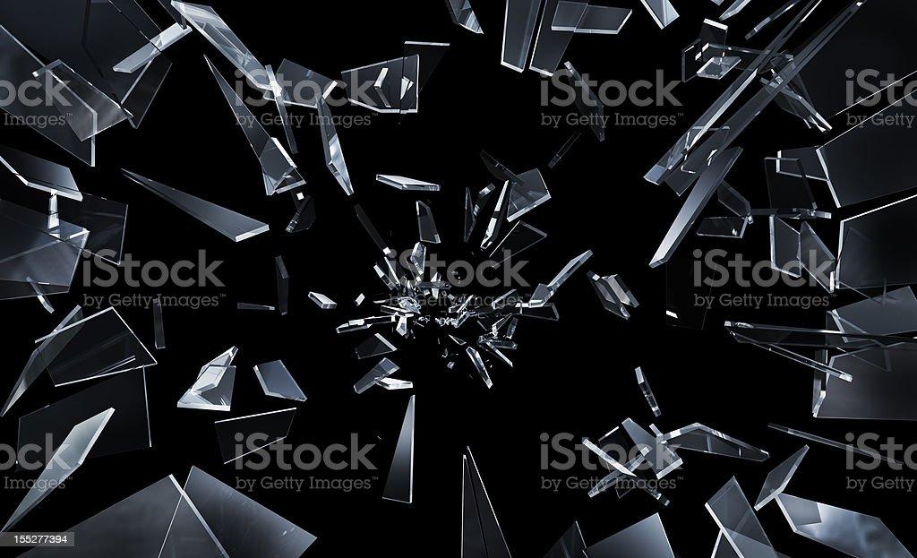 Shattering window glass stock photo