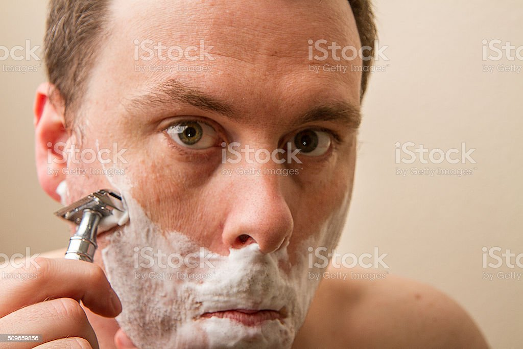Shave the face stock photo