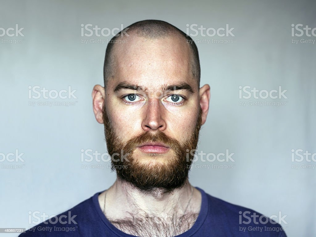 Shaved Head Man With Beard stock photo
