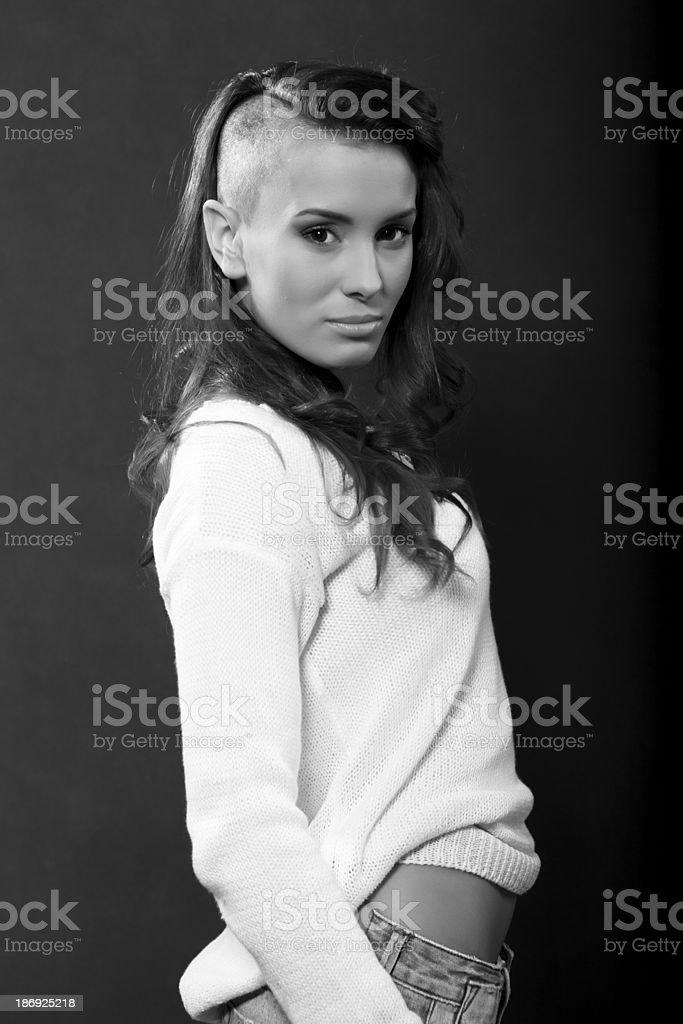 shaved head royalty-free stock photo