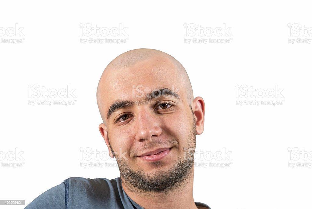 shaved head stock photo