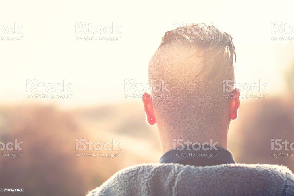 Shaven human head  on nape stock photo