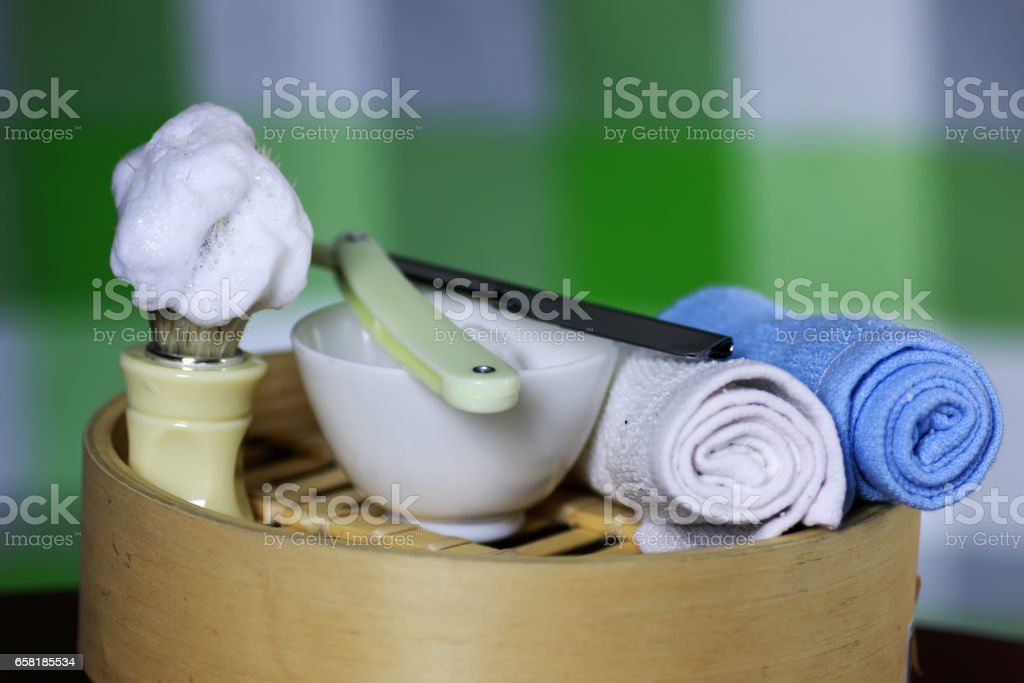 shaving accessories danger stock photo