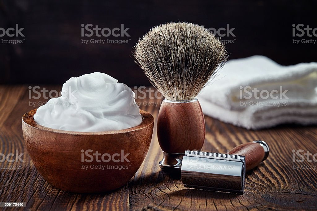 Shaving accessories stock photo