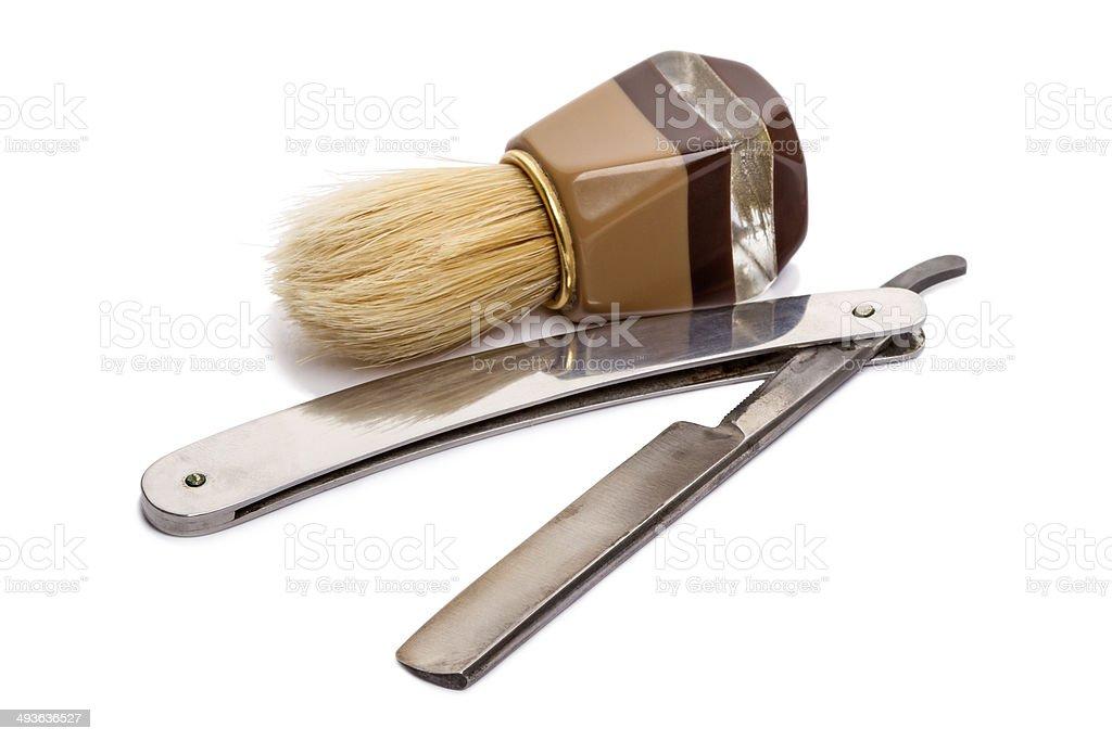 Shaving Brush and Straight Razor (classic) stock photo