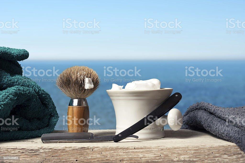 shaving Equipment on wood in Landscape stock photo