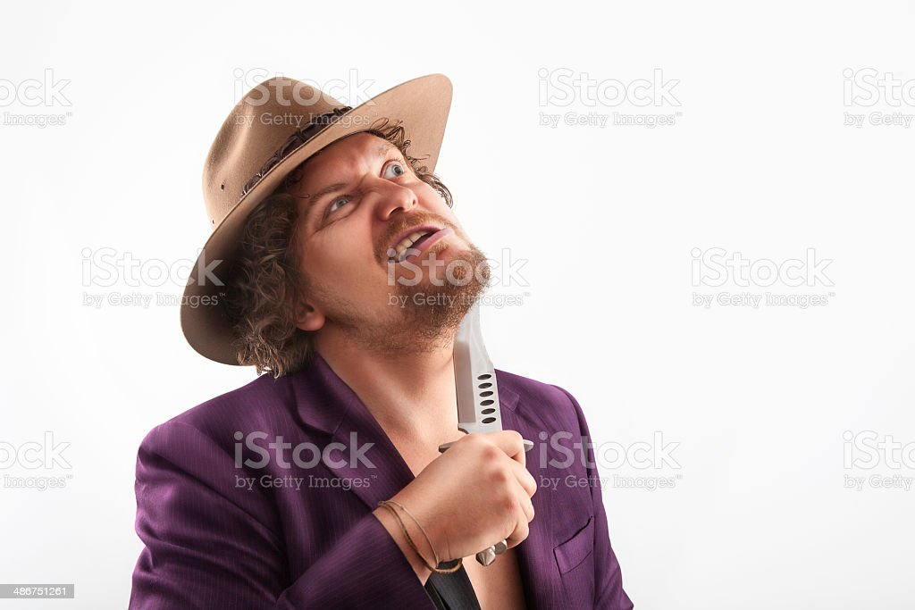 Shaving man with hat stock photo