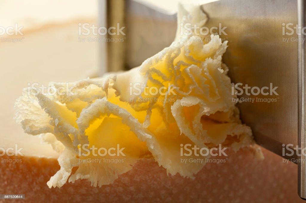 Shaving tete de moine cheese stock photo