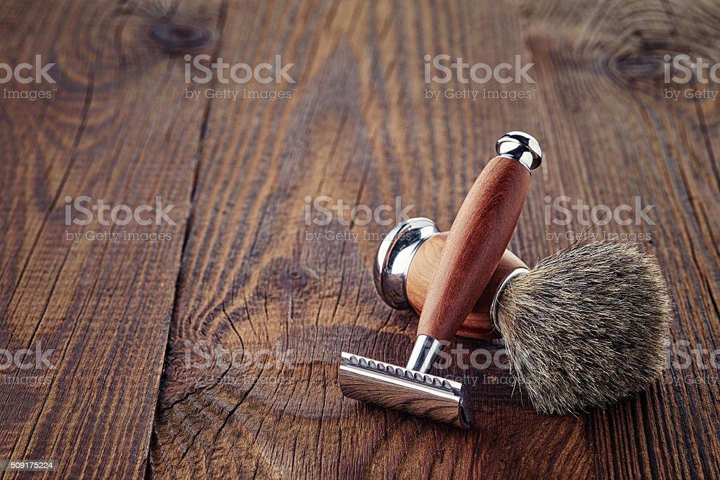 Shaving razor and brush stock photo