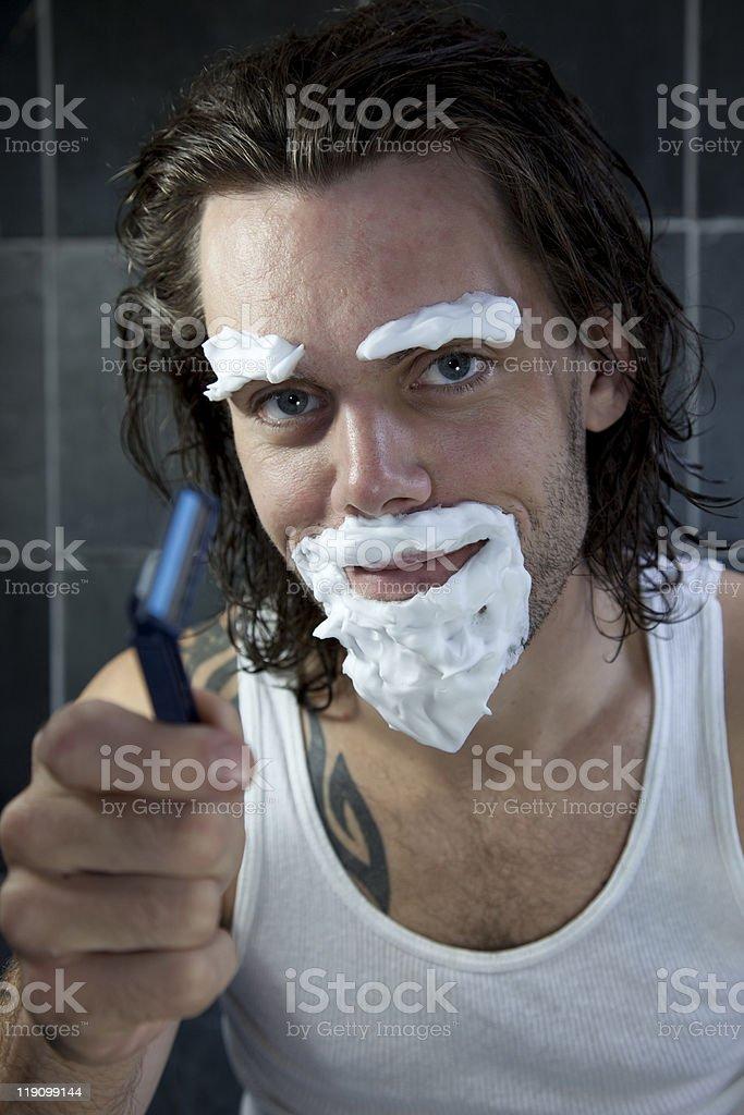 Shaving Silly royalty-free stock photo